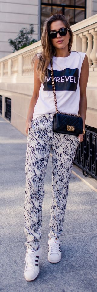 Black-and-white tank and black-and-white pants