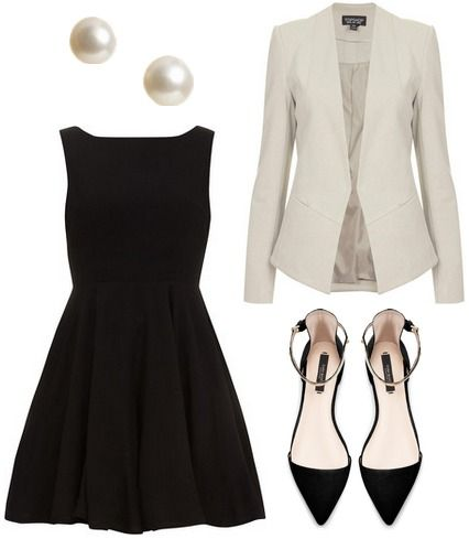 Black dress, white jacket