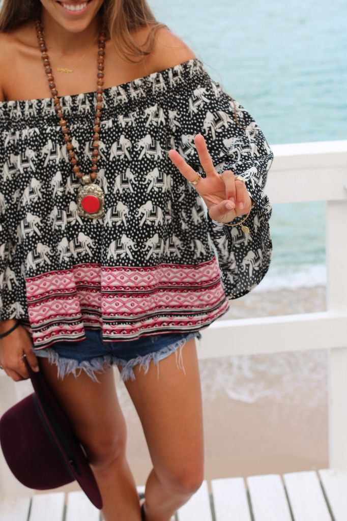 Boho chic off-shoulder