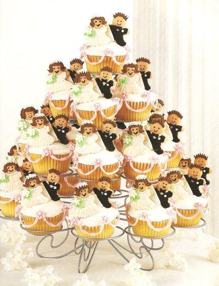 Bride and groom cupcake display