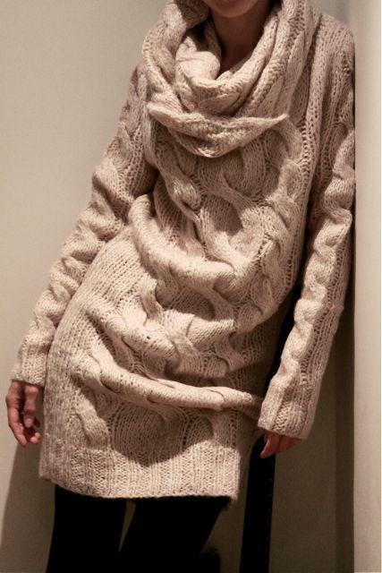 Chunky knit sweater dress