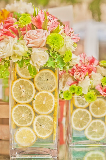 Citrus and floral centerpieces