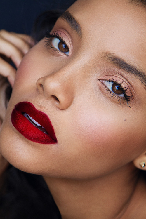 Deep red lips