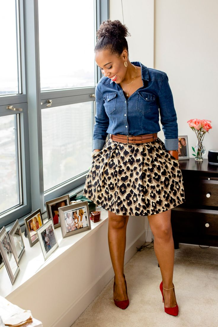 Denim and an animal print flare skirt