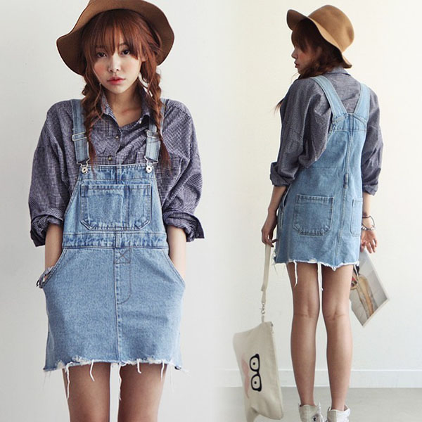Denim overalls (skirt)