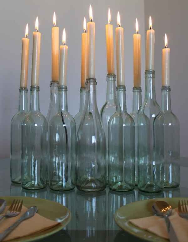 Easy wine bottle candle holders