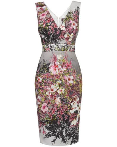 Figure flattering blossom print dress
