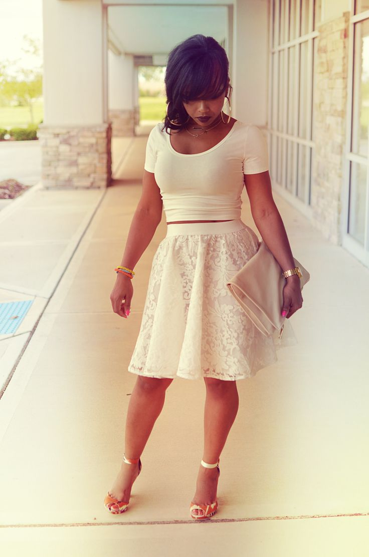 Fitted top and flare skirt