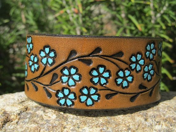 Floral leather cuff