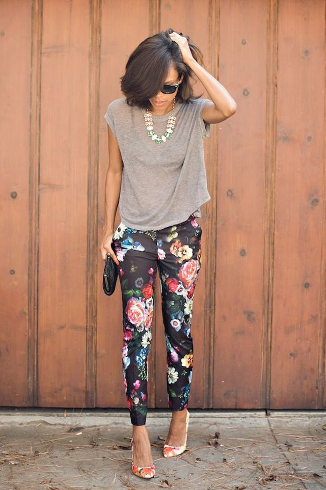 Floral pants with a plain tank