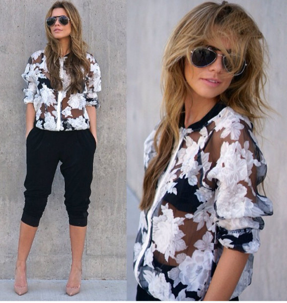 Floral sheer bomber jacket