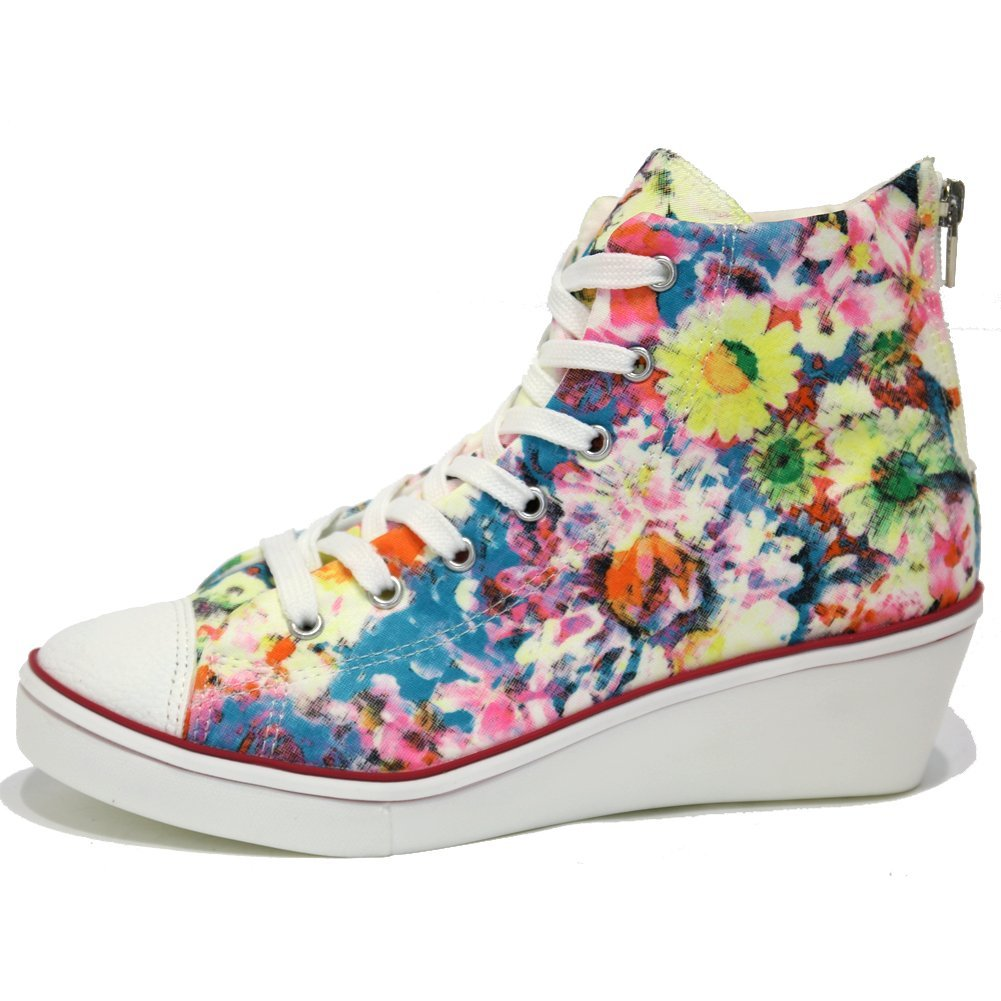 Floral wedge sneakers