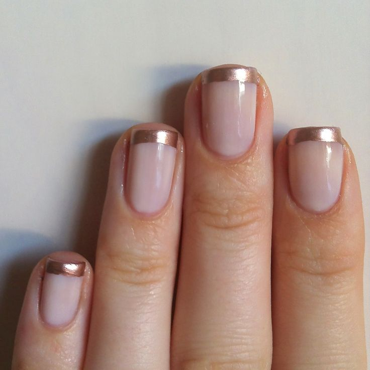 French manicure in rose gold