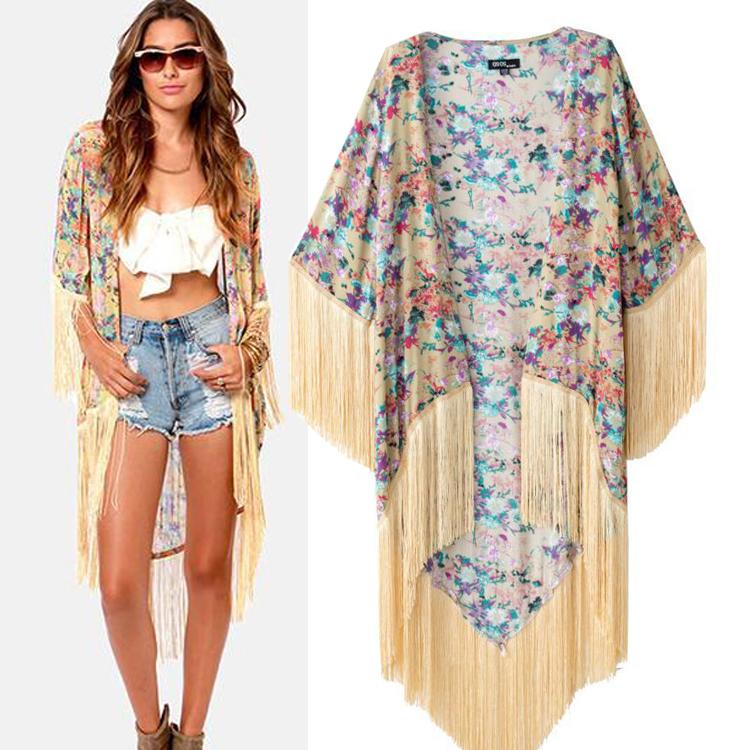 Fringe kimono jacket