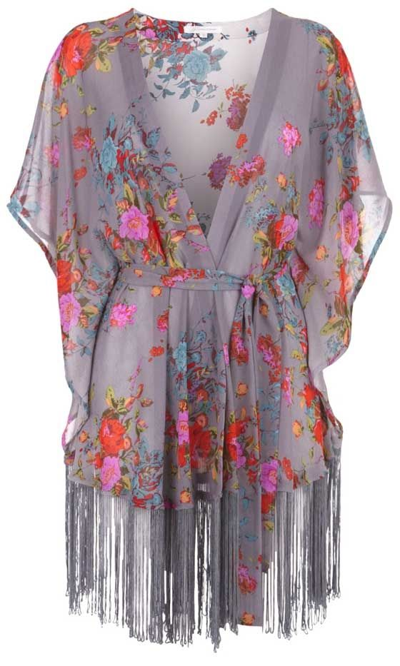 Fringe kimono