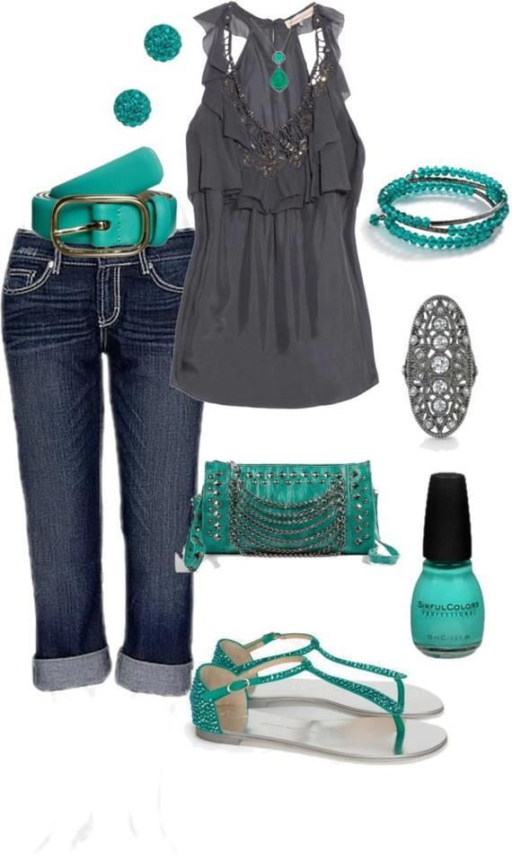 Grey and mint green