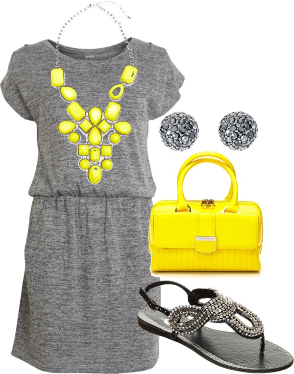 Grey with yellow accessories