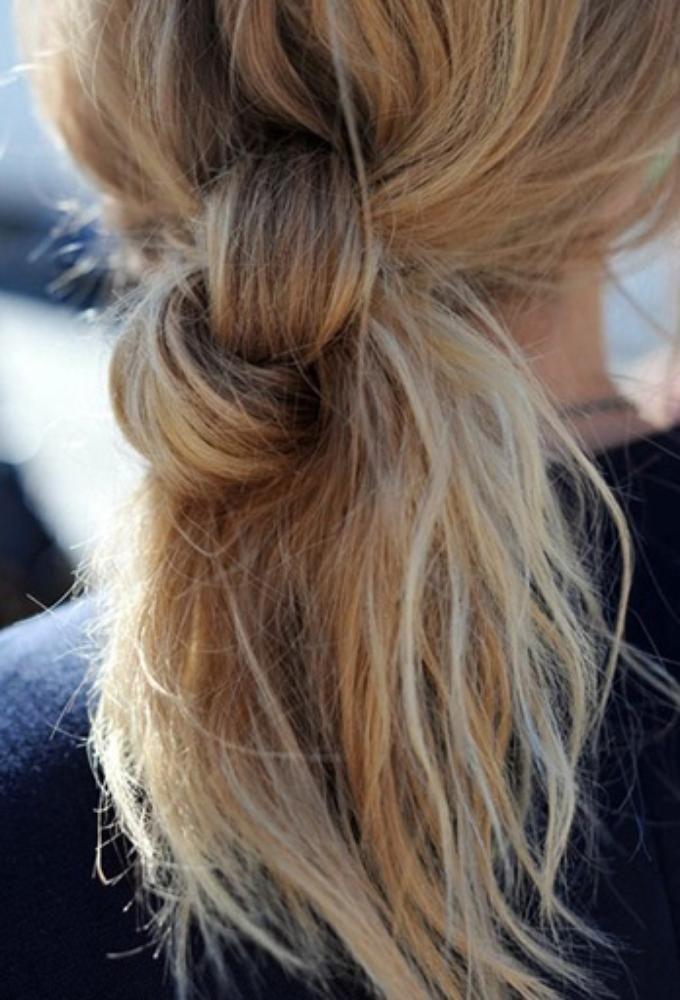 Hair tie ponytail