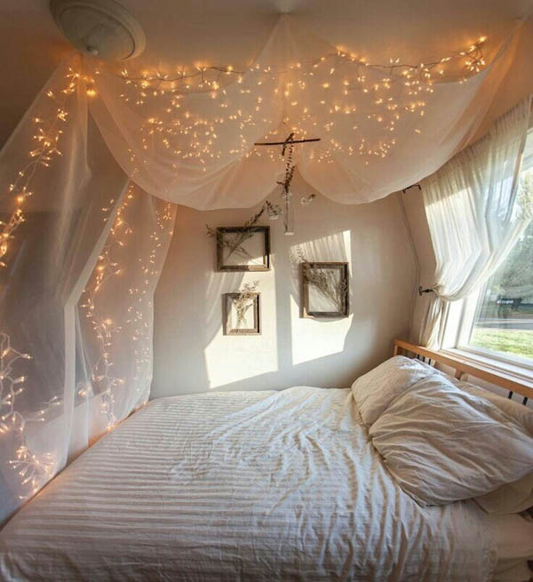 Hang lights from your bedroom ceiling