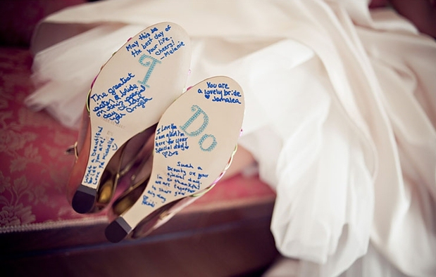 Have guests sign your bridal shoes