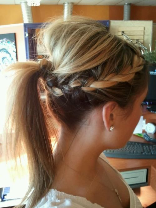 High ponytail and braid