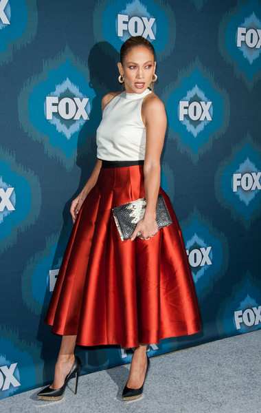 Jennifer Lopez Red Pleated Skirt Outfit