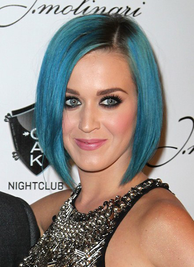 Katy Perry Blue A Line Bob Hairstyle