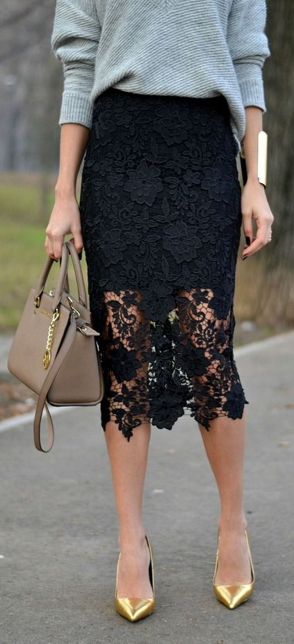 Lace mini (and pencil) skirt
