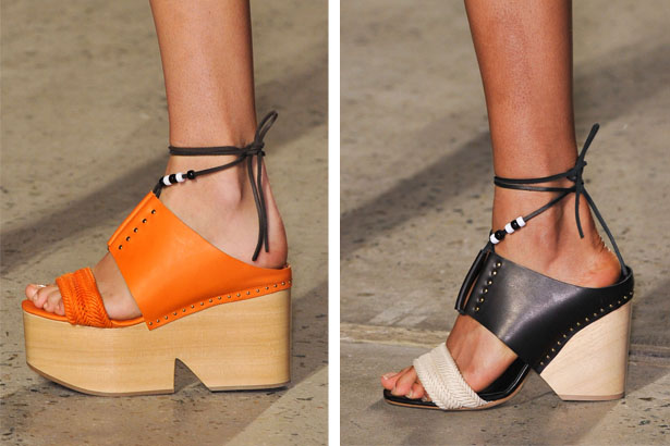 Leather and wood wedges
