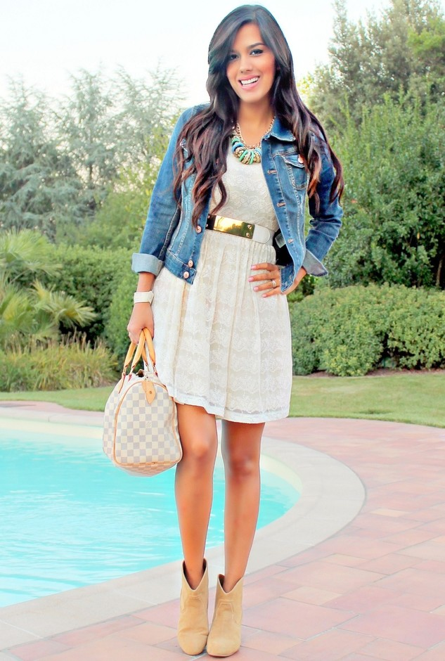 Denim jacket, baby doll dress and booties | Styles Weekly