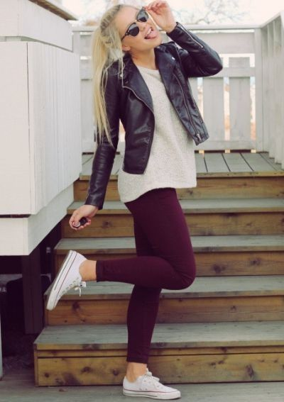 Leather, leggings and canvas shoes