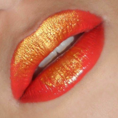 Metallic ombre lips