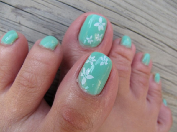 Mint green with a design