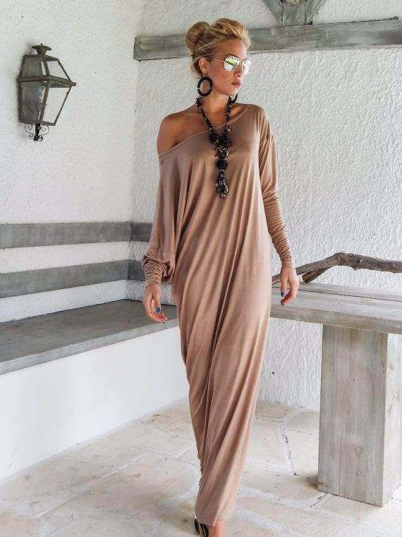 Off-shoulder taupe maxi dress