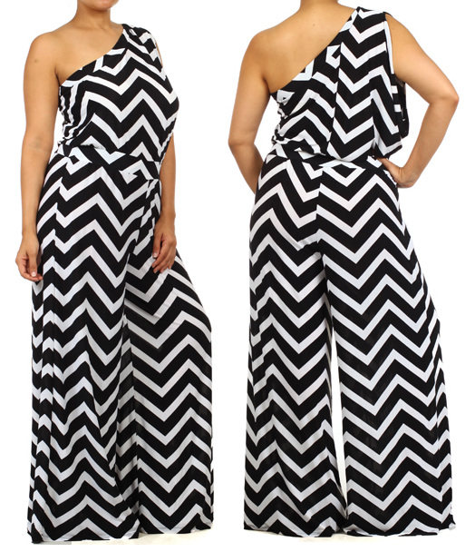 One-shoulder chevron jumpsuit