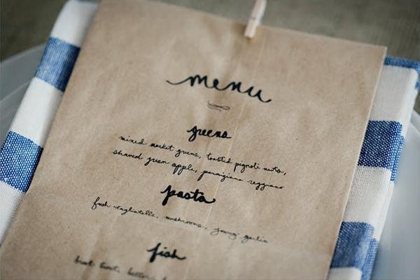 Paper bag menus