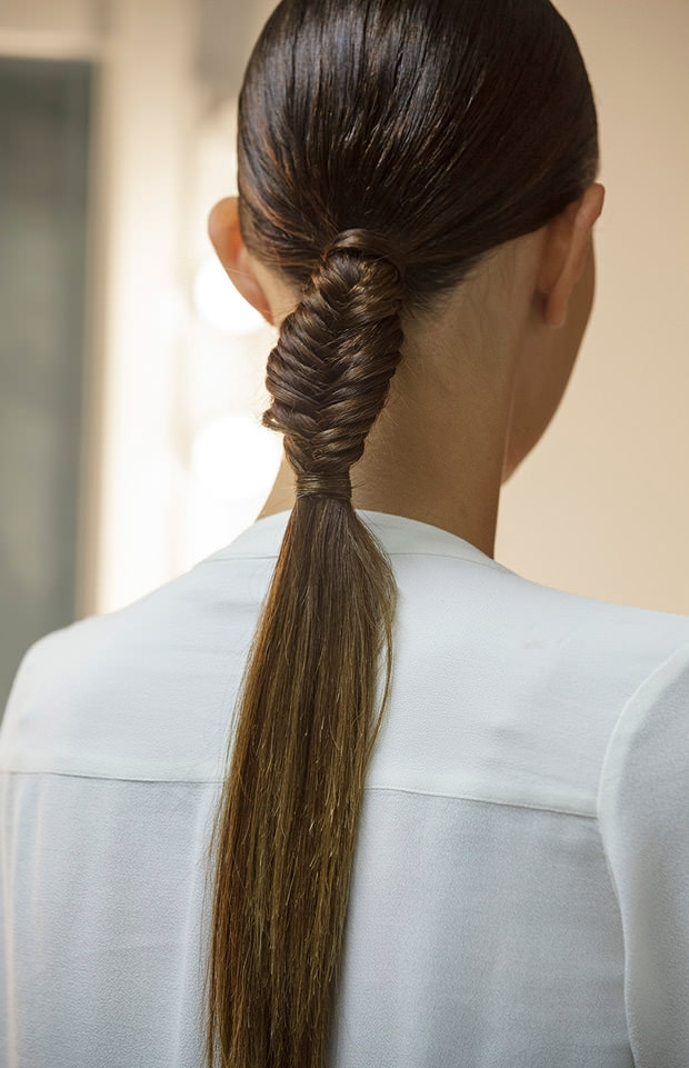 Partial fishtail ponytail