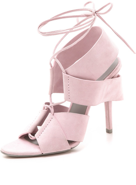 Pastel lace-up sandals