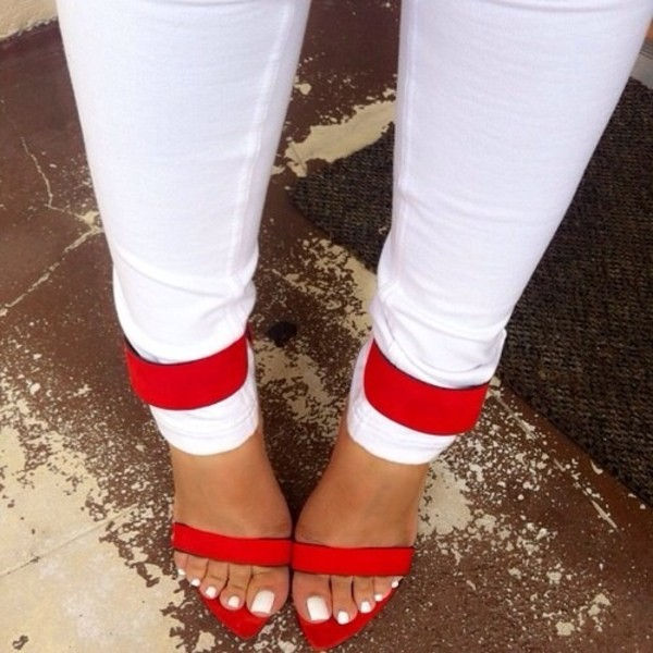 Red ankle strap heels