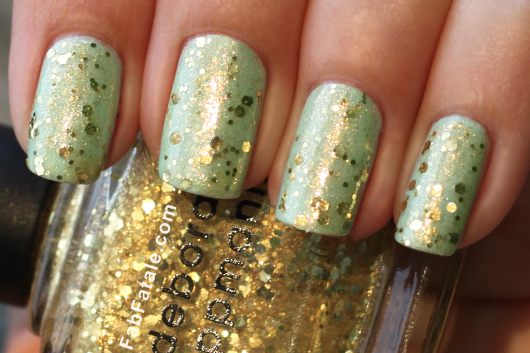 Seafoam green with at touch of gold glitter