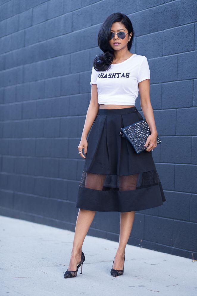 Sheer flare skirt