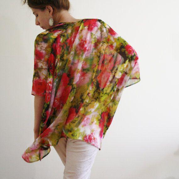 Sheer kimono jacket