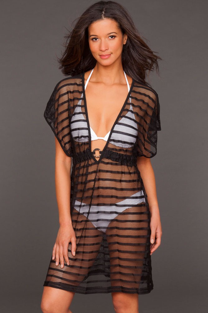 Sheer striped cover-up