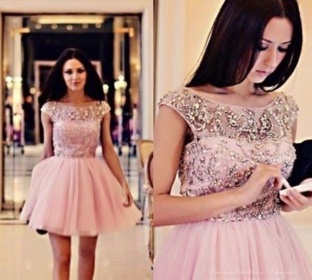 Short, light pink and tulle