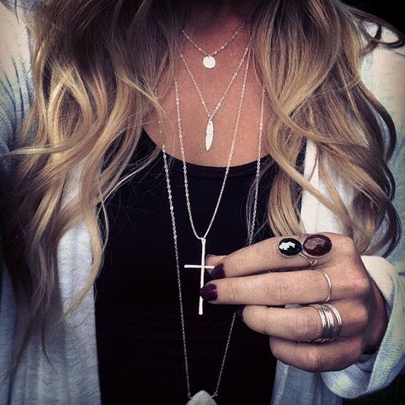 Silver layered necklaces