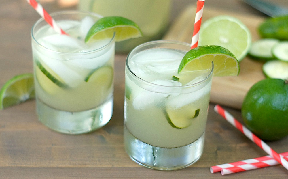Sparking cucumber and basil limeade