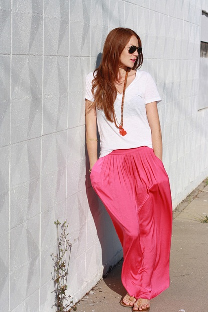 Strawberry ice maxi skirt