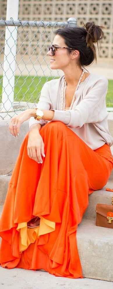 Tangerine maxi skirt