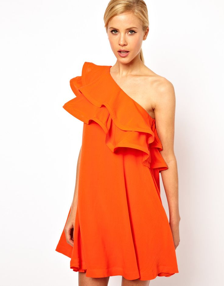 Tangerine one-shoulder swing dress