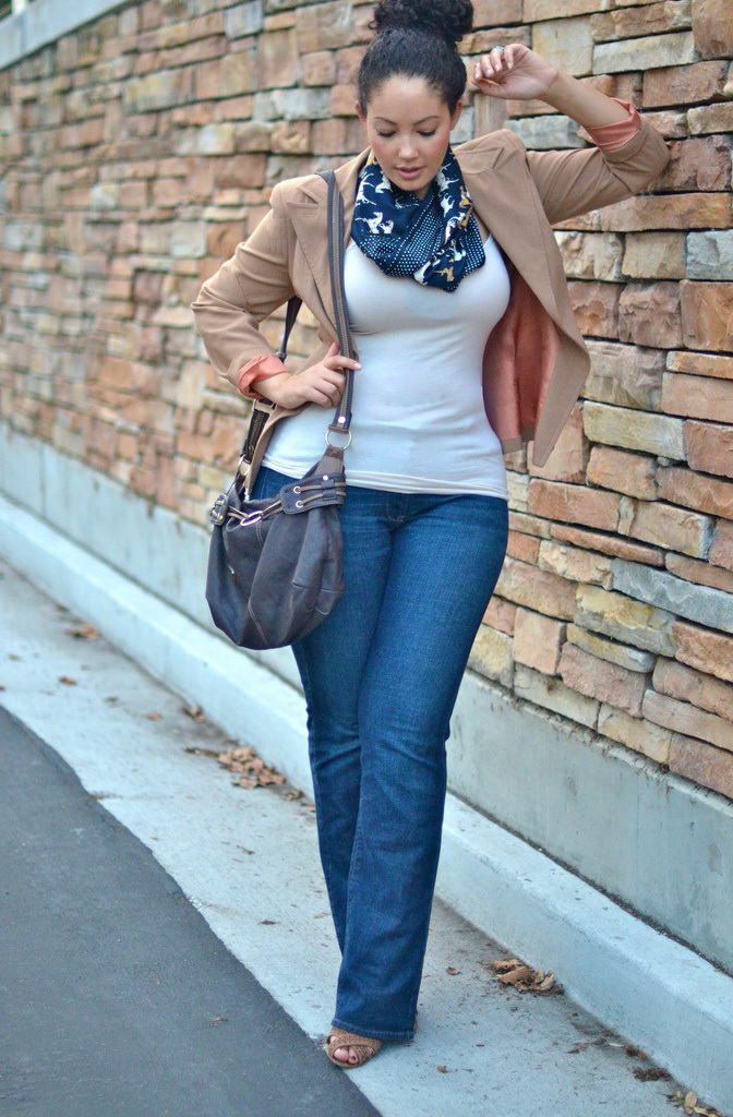 Tank top and flare jeans